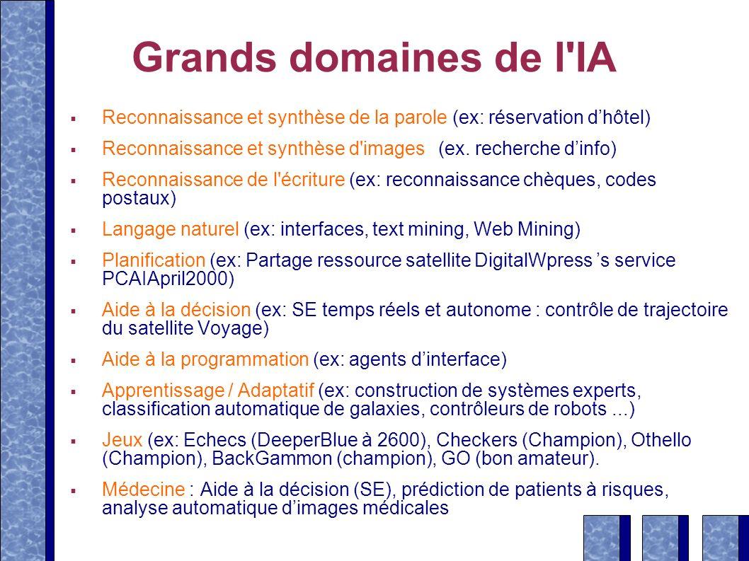 Grands domaines de l IA Reconnaissance et synthèse de la parole (ex: réservation d'hôtel)