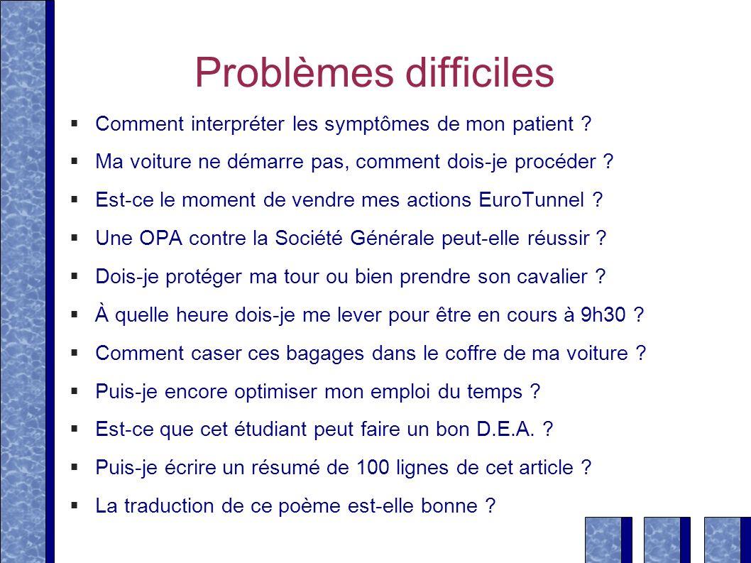 Problèmes difficiles Comment interpréter les symptômes de mon patient Ma voiture ne démarre pas, comment dois-je procéder