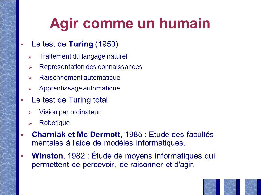 Agir comme un humain Le test de Turing (1950) Le test de Turing total