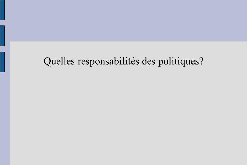 Quelles responsabilités des politiques