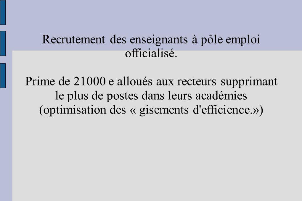 Recrutement des enseignants à pôle emploi officialisé.