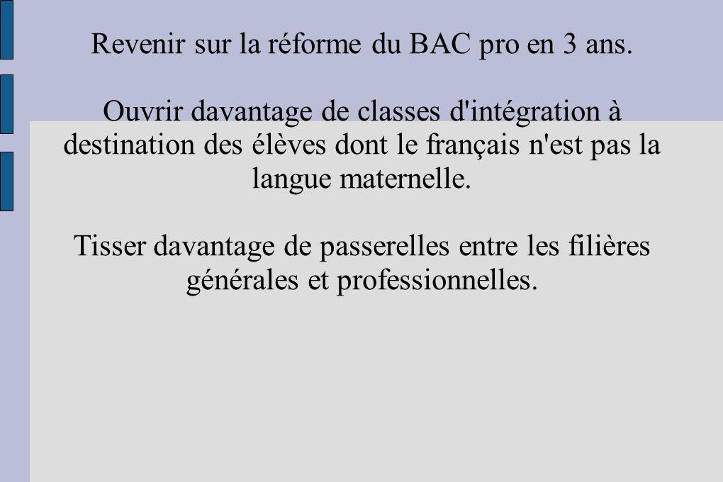 Revenir sur la réforme du BAC pro en 3 ans.