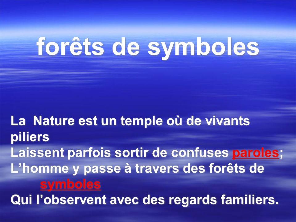 forêts de symboles La Nature est un temple où de vivants piliers