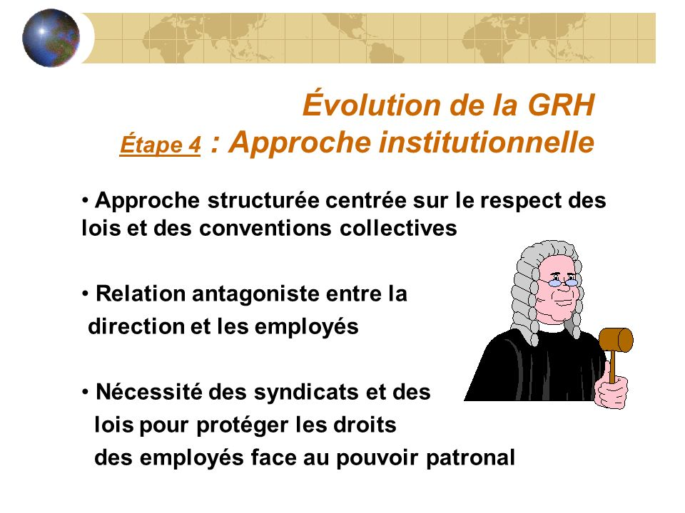 Évolution de la GRH Étape 4 : Approche institutionnelle