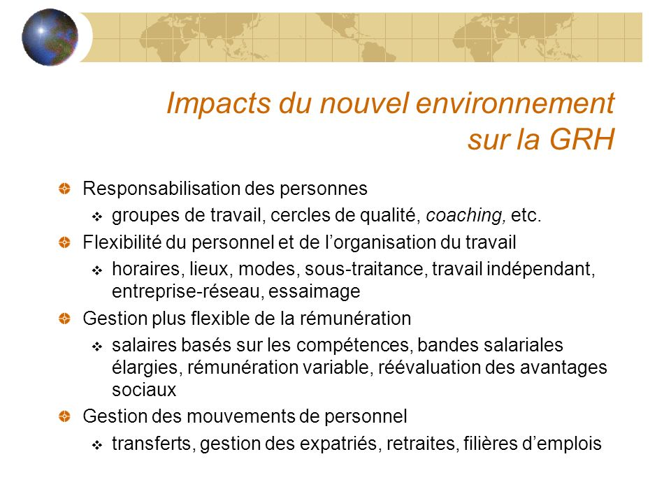 Impacts du nouvel environnement sur la GRH