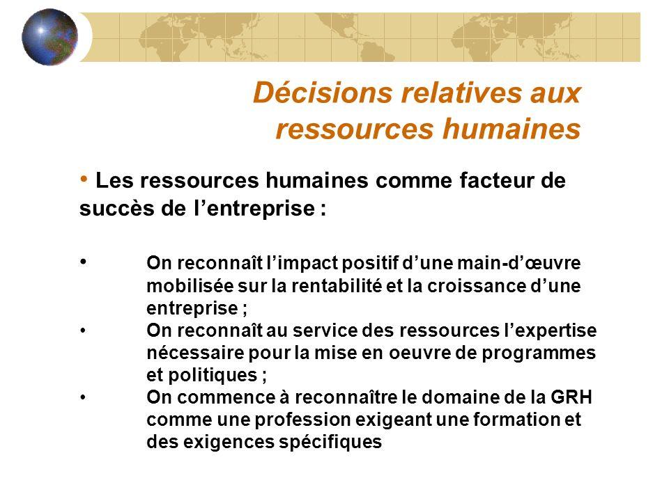 Décisions relatives aux ressources humaines