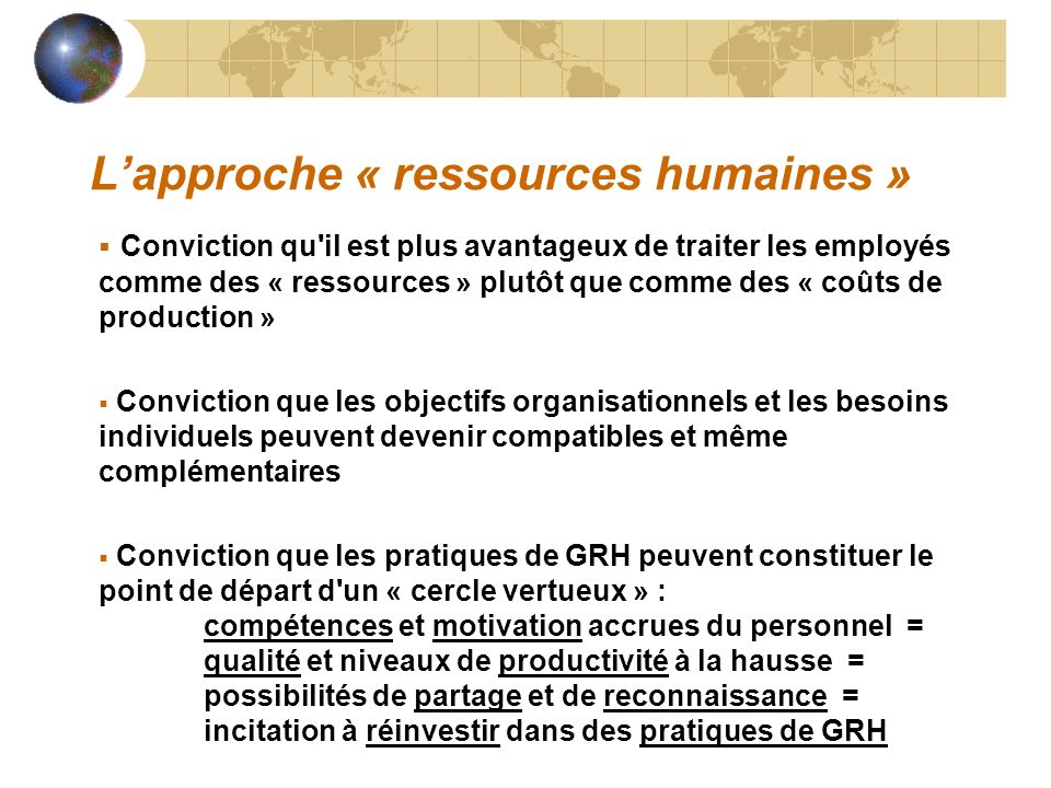 L'approche « ressources humaines »