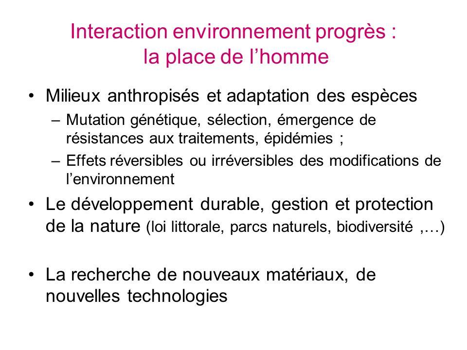Interaction environnement progrès : la place de l'homme