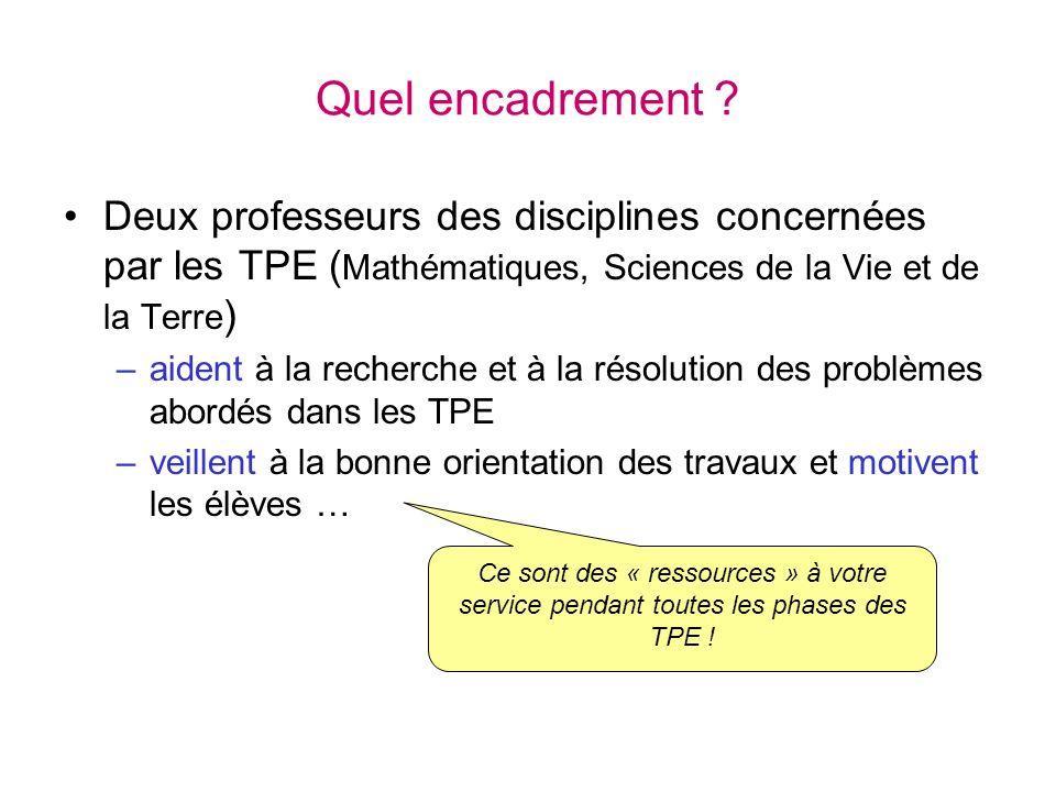 Quel encadrement Deux professeurs des disciplines concernées par les TPE (Mathématiques, Sciences de la Vie et de la Terre)