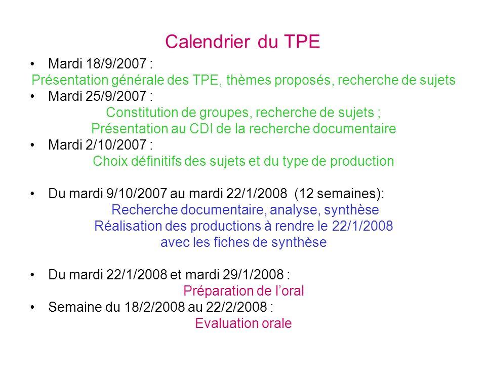 Calendrier du TPE Mardi 18/9/2007 :