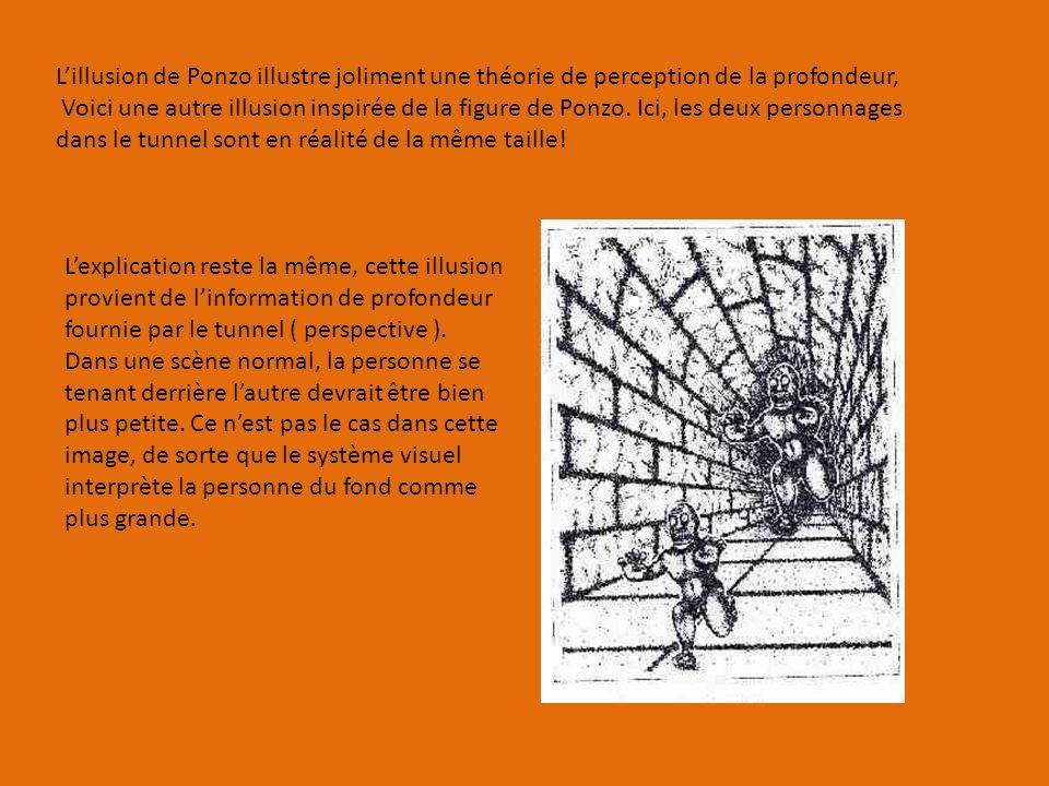 L'illusion de Ponzo illustre joliment une théorie de perception de la profondeur,