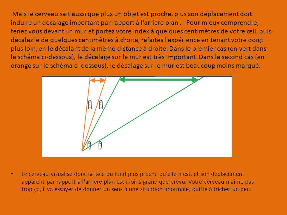 Mais le cerveau sait aussi que plus un objet est proche, plus son déplacement doit induire un décalage important par rapport à l arrière plan . Pour mieux comprendre, tenez vous devant un mur et portez votre index à quelques centimètres de votre œil, puis décalez le de quelques centimètres à droite, refaites l expérience en tenant votre doigt plus loin, en le décalant de la même distance à droite. Dans le premier cas (en vert dans le schéma ci-dessous), le décalage sur le mur est très important. Dans le second cas (en orange sur le schéma ci-dessous), le décalage sur le mur est beaucoup moins marqué.
