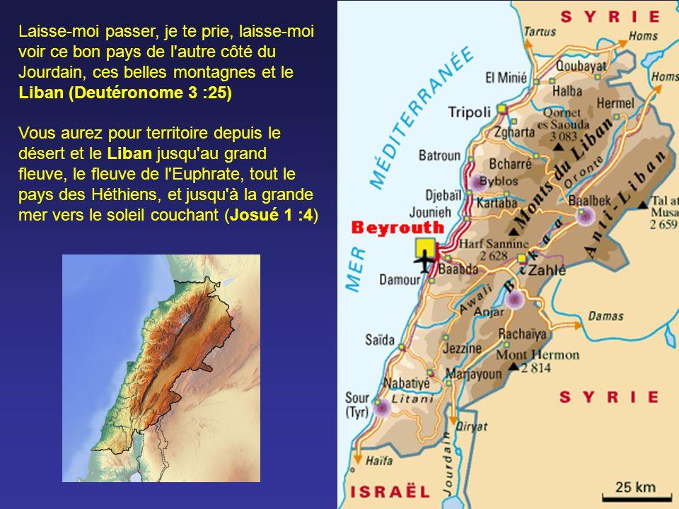 Laisse-moi passer, je te prie, laisse-moi voir ce bon pays de l autre côté du Jourdain, ces belles montagnes et le Liban (Deutéronome 3 :25)