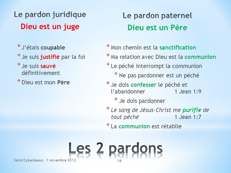 Les 2 pardons Le pardon juridique Le pardon paternel Dieu est un juge
