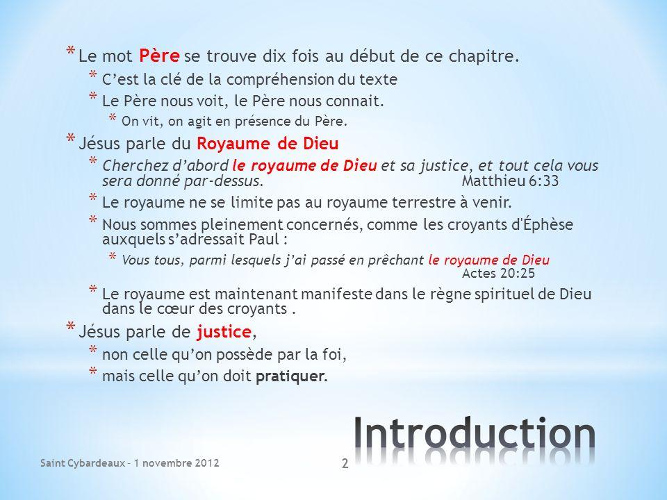 Introduction Le mot Père se trouve dix fois au début de ce chapitre.