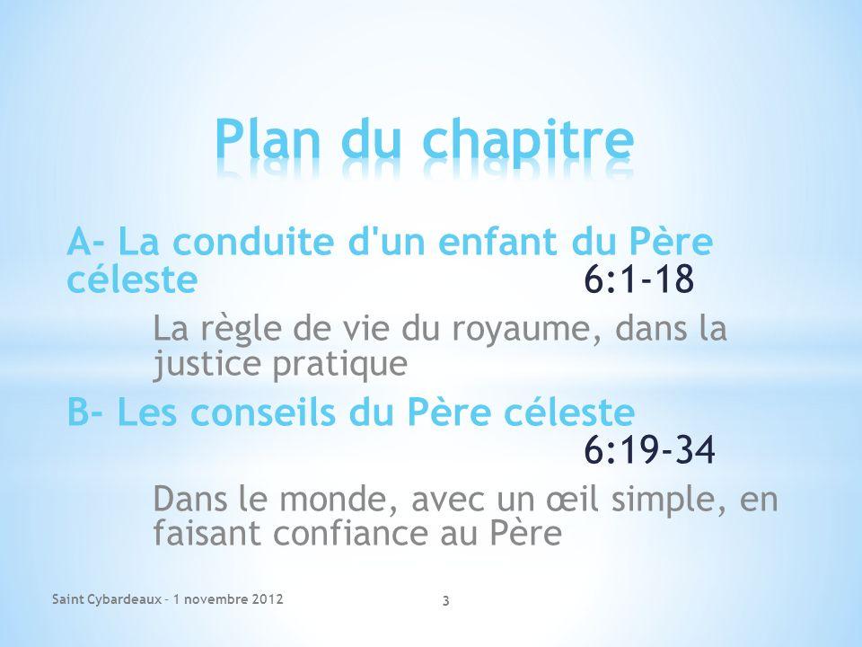 Plan du chapitre A- La conduite d un enfant du Père céleste 6:1-18