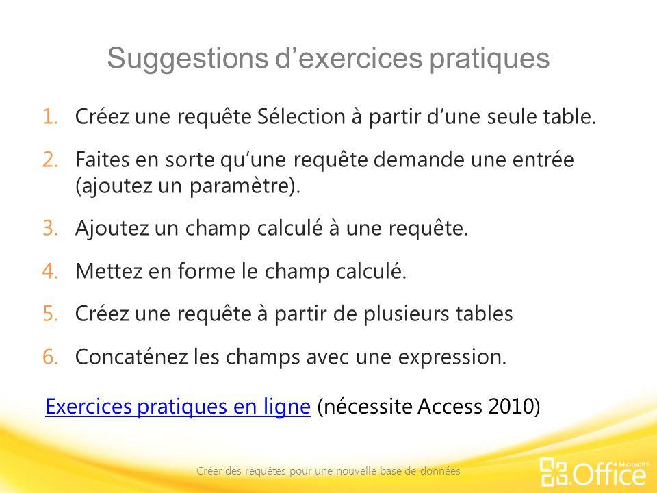 Suggestions d'exercices pratiques