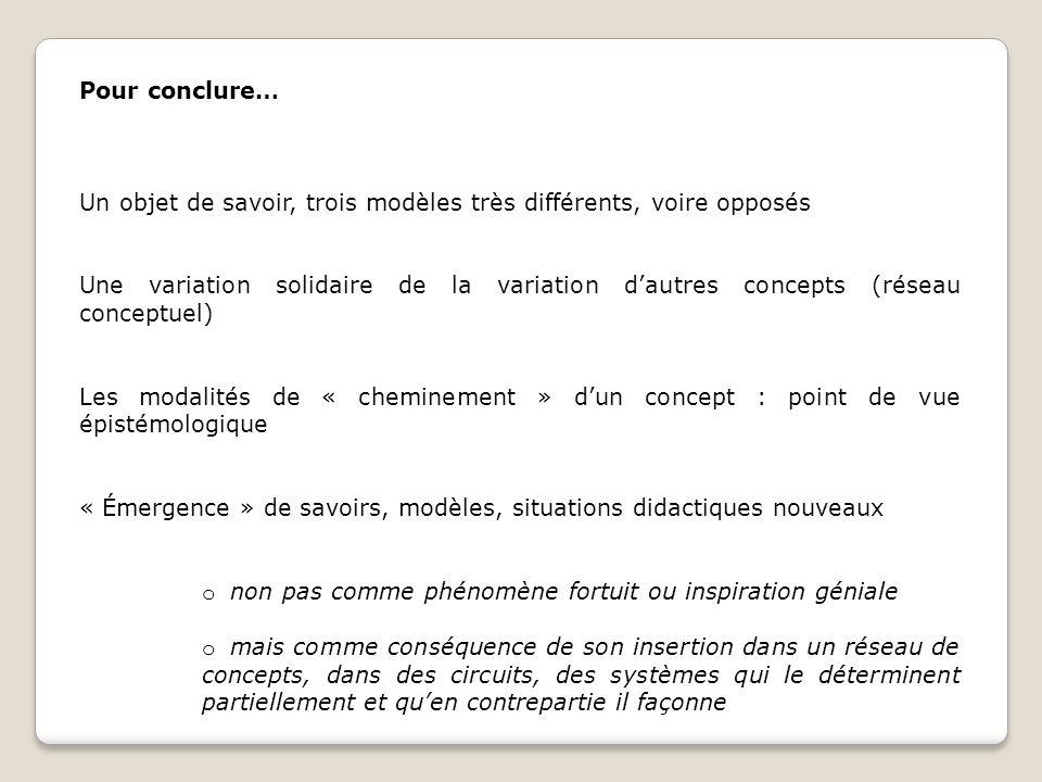 Pour conclure… Un objet de savoir, trois modèles très différents, voire opposés.