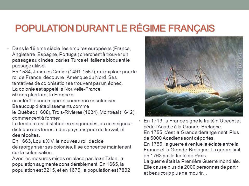 POPULATION DURANT LE RÉGIME FRANÇAIS