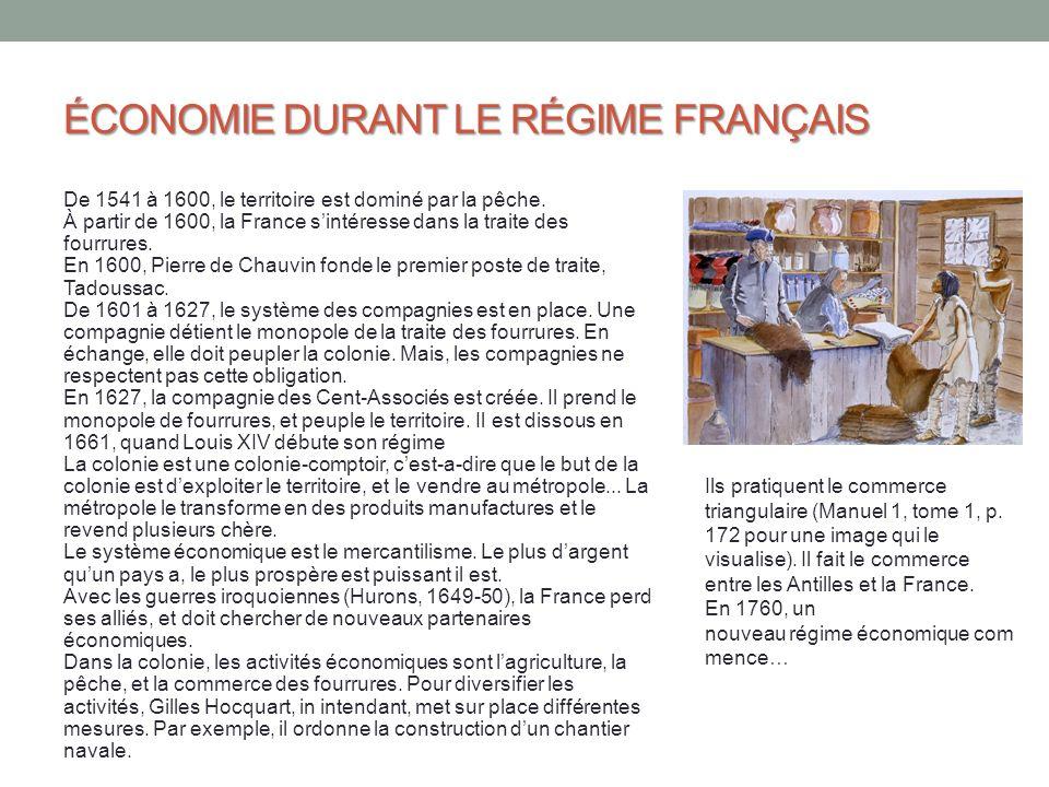 ÉCONOMIE DURANT LE RÉGIME FRANÇAIS