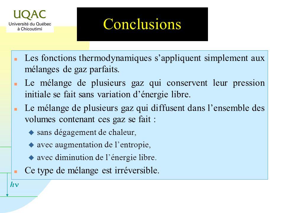 Conclusions Les fonctions thermodynamiques s'appliquent simplement aux mélanges de gaz parfaits.