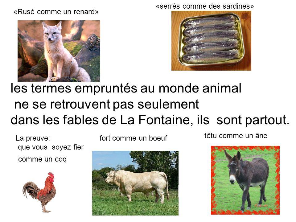 les termes empruntés au monde animal ne se retrouvent pas seulement