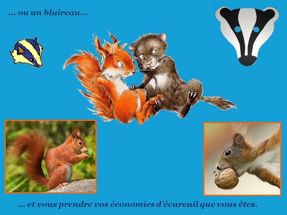 … ou un blaireau… … et vous prendre vos économies d'écureuil que vous êtes.
