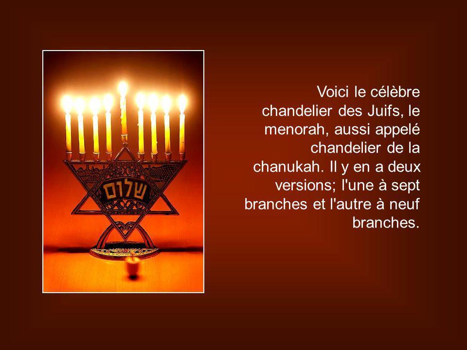 Voici le célèbre chandelier des Juifs, le menorah, aussi appelé chandelier de la chanukah.
