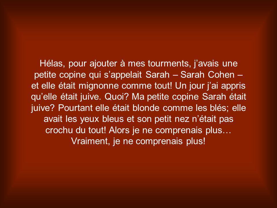 Hélas, pour ajouter à mes tourments, j'avais une petite copine qui s'appelait Sarah – Sarah Cohen – et elle était mignonne comme tout.