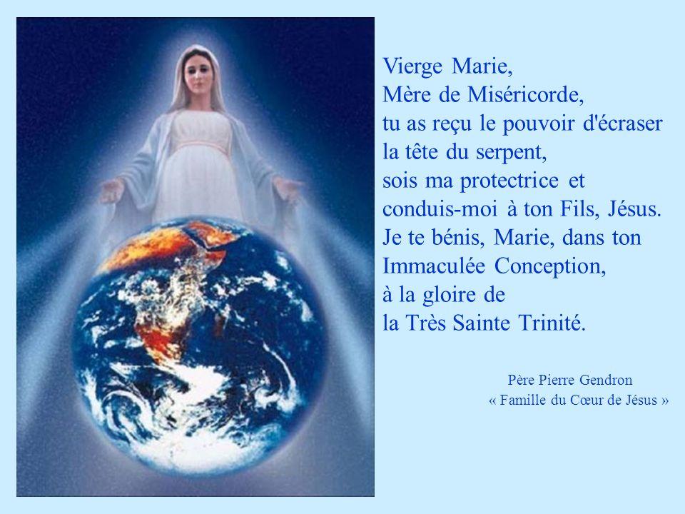 Vierge Marie, Mère de Miséricorde, tu as reçu le pouvoir d écraser la tête du serpent, sois ma protectrice et conduis-moi à ton Fils, Jésus. Je te bénis, Marie, dans ton Immaculée Conception, à la gloire de la Très Sainte Trinité. Père Pierre Gendron « Famille du Cœur de Jésus »