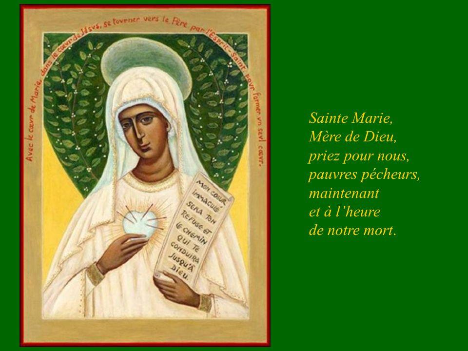 Sainte Marie, Mère de Dieu, priez pour nous, pauvres pécheurs, maintenant et à l'heure de notre mort.