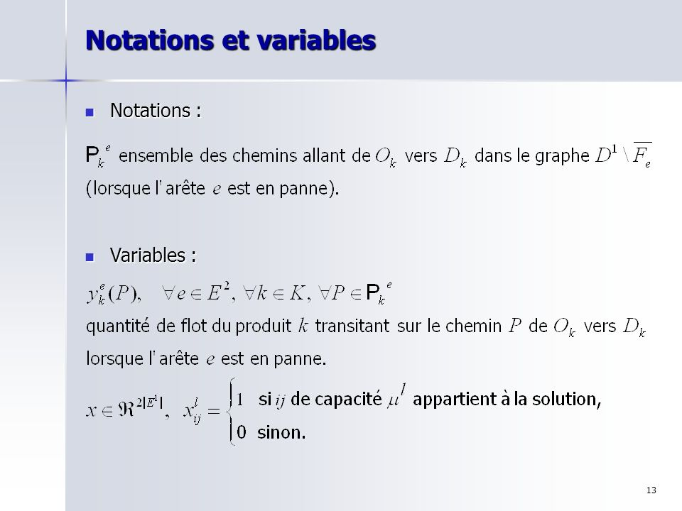 Notations et variables