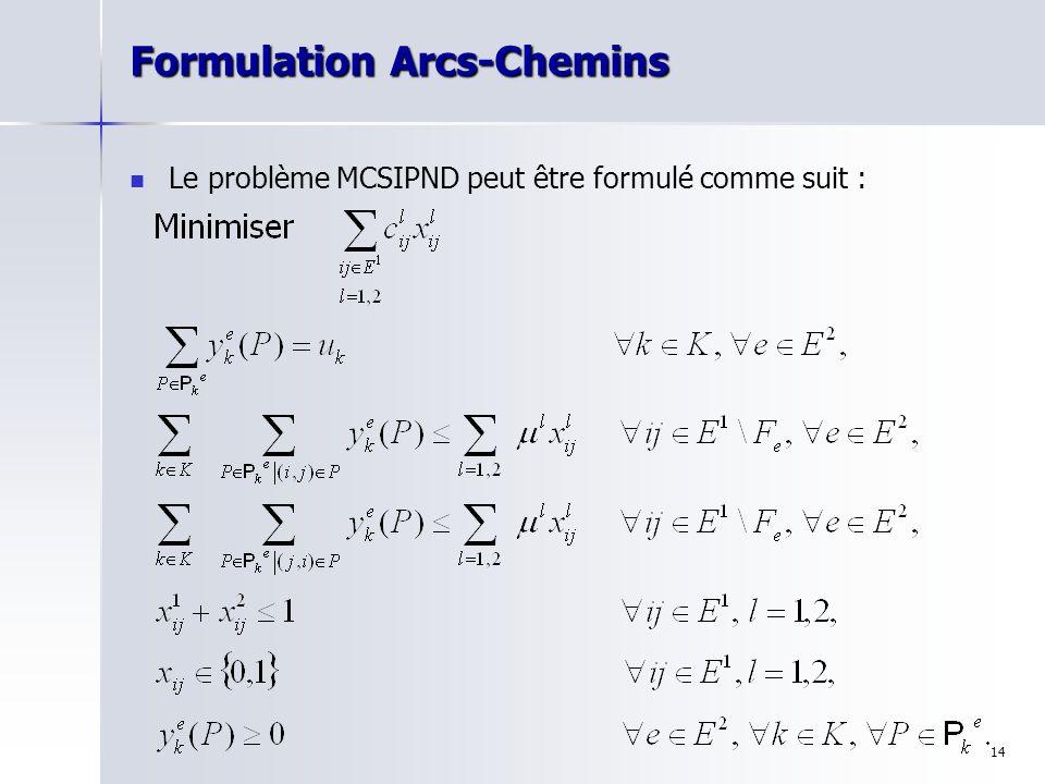 Formulation Arcs-Chemins
