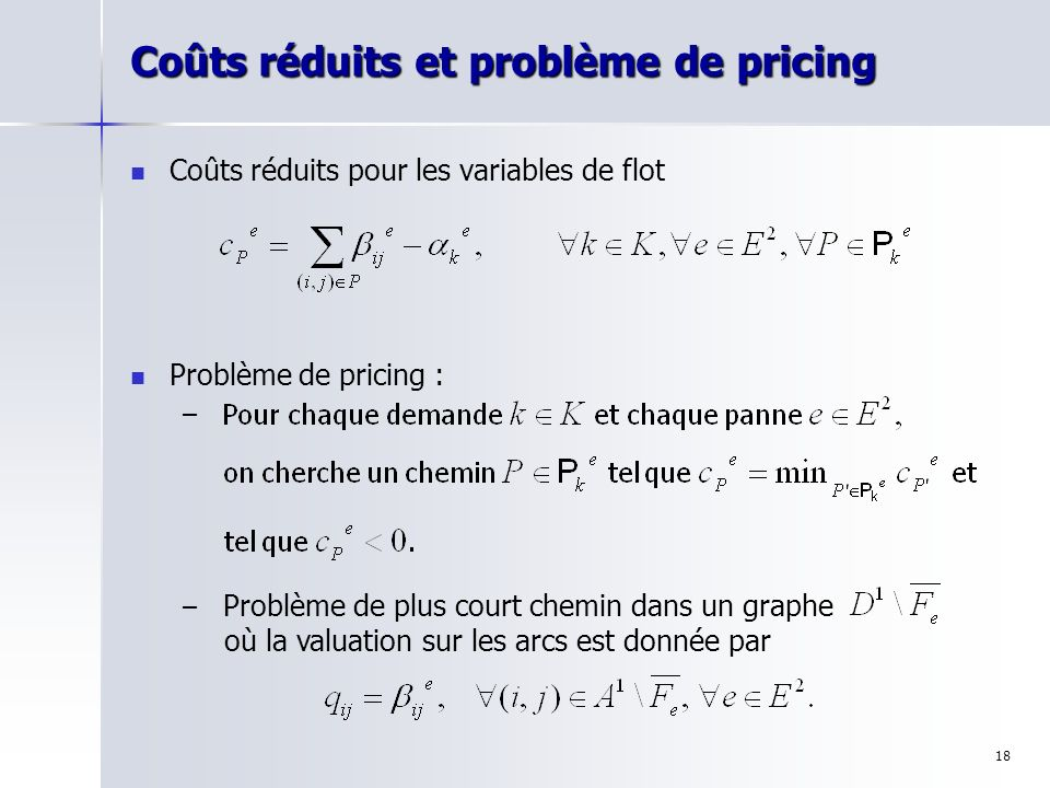 Coûts réduits et problème de pricing