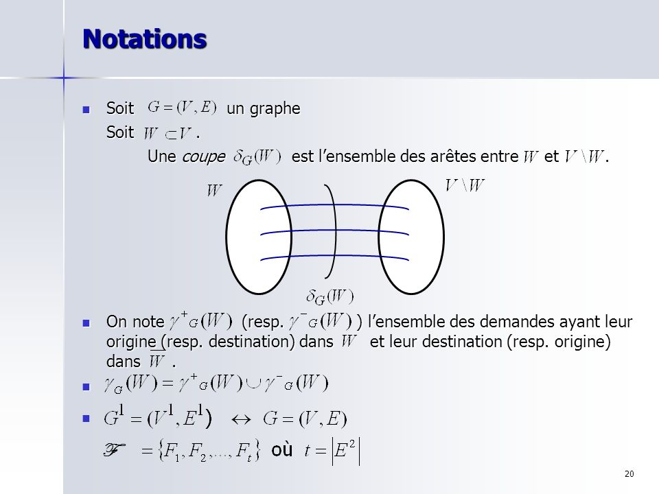 Notations F Soit un graphe Soit .