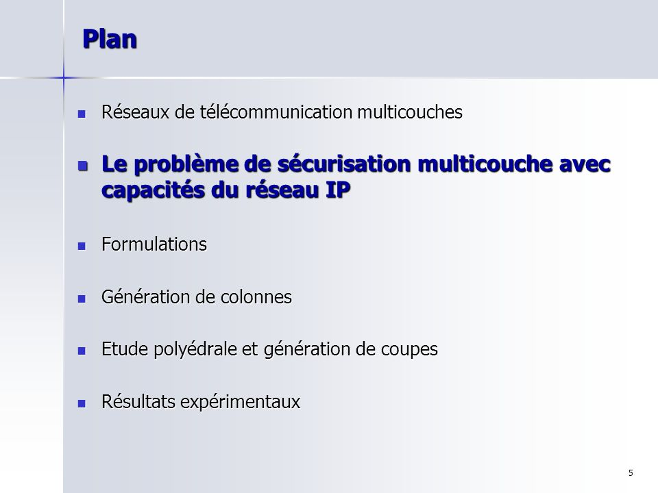 Plan Réseaux de télécommunication multicouches. Le problème de sécurisation multicouche avec capacités du réseau IP.