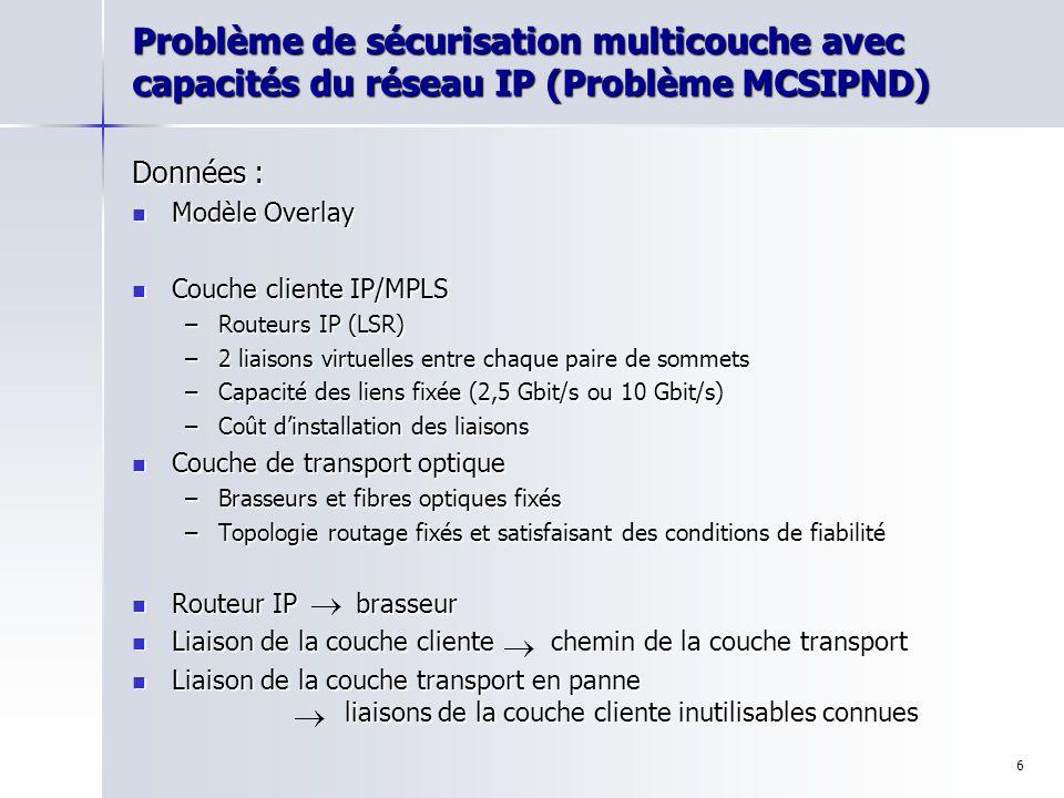 Problème de sécurisation multicouche avec capacités du réseau IP (Problème MCSIPND)