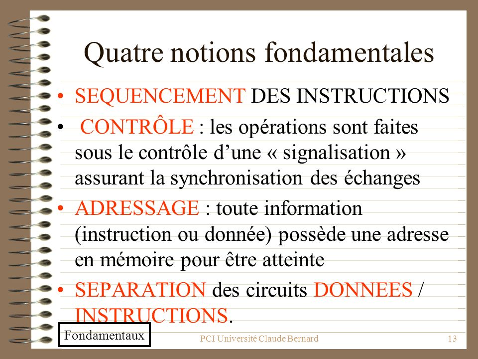 Quatre notions fondamentales