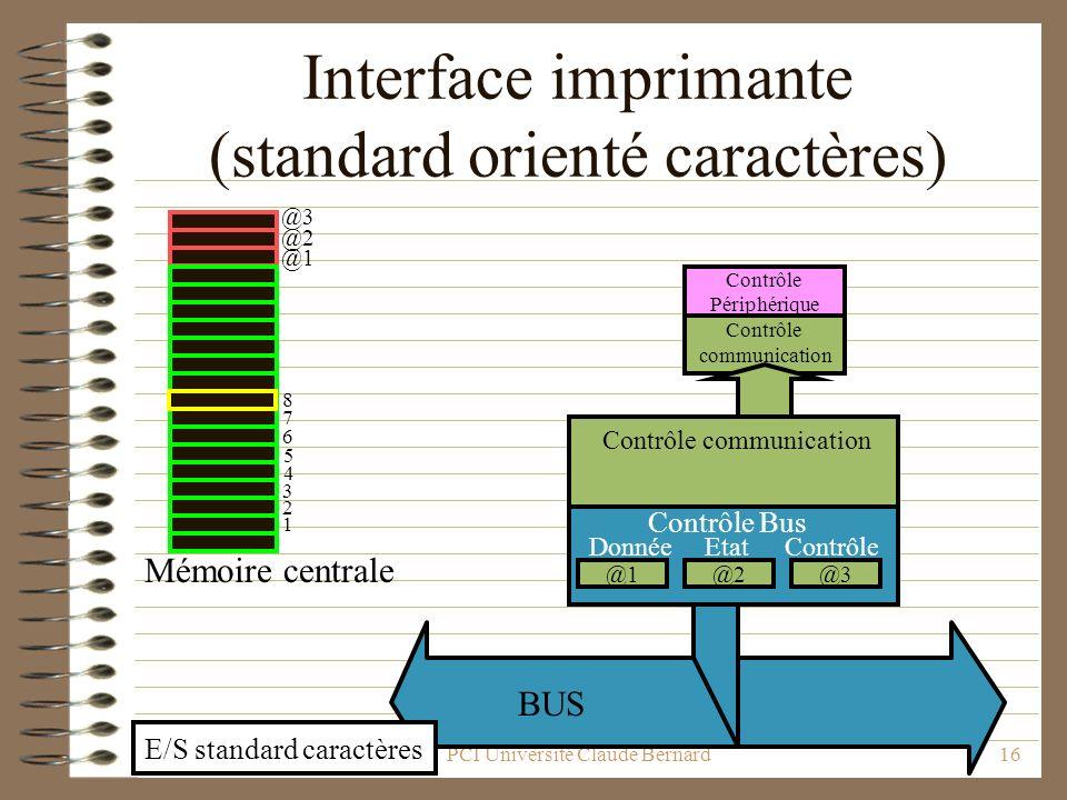 Interface imprimante (standard orienté caractères)