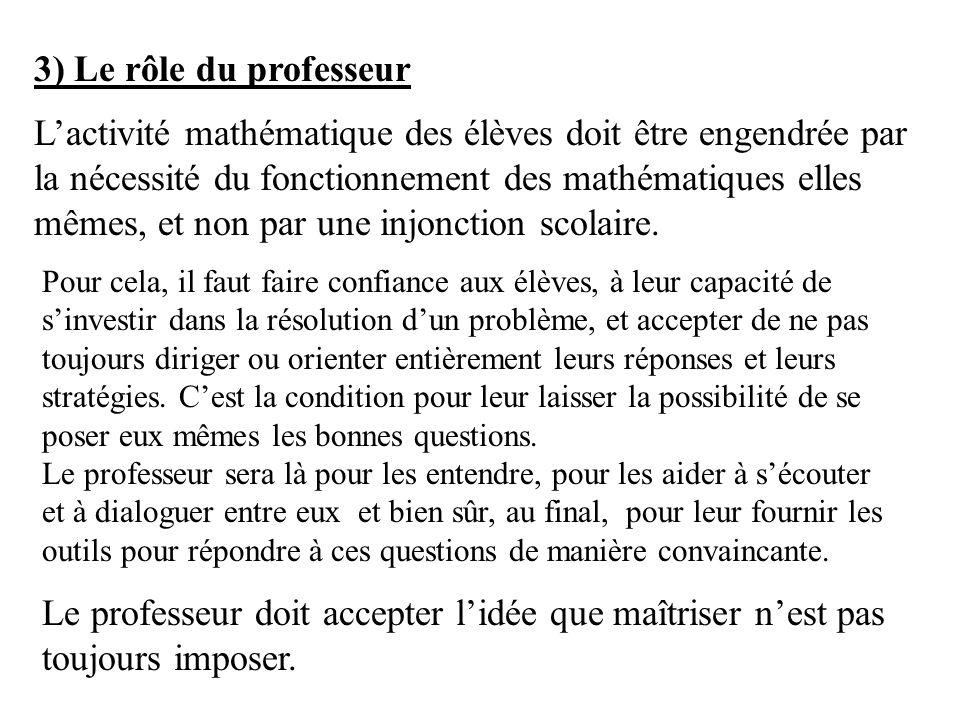 3) Le rôle du professeur