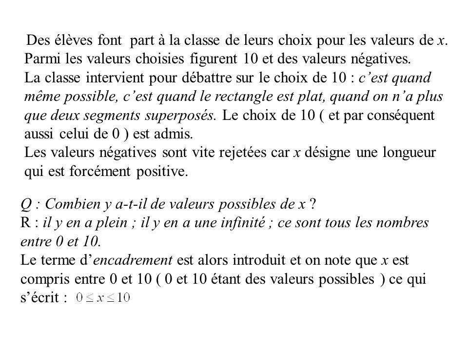 Parmi les valeurs choisies figurent 10 et des valeurs négatives.