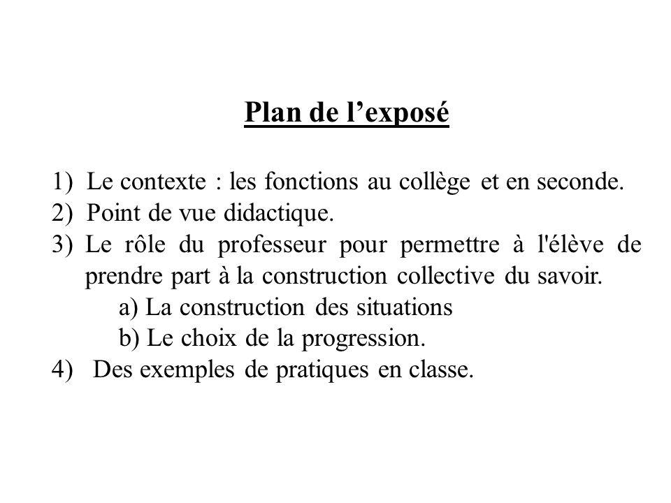 Plan de l'exposé 1) Le contexte : les fonctions au collège et en seconde. 2) Point de vue didactique.
