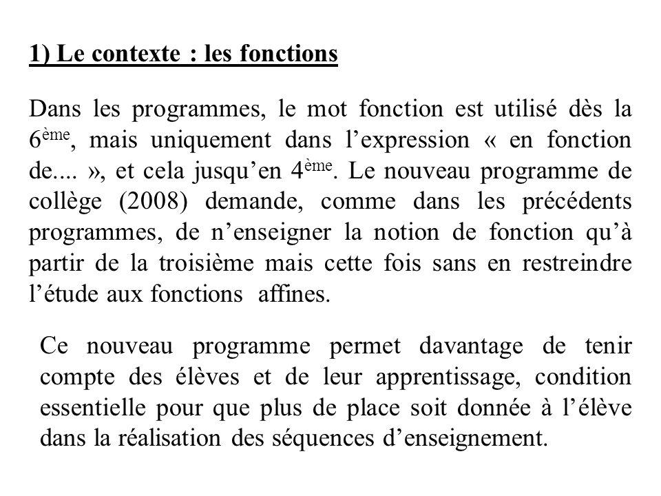 1) Le contexte : les fonctions