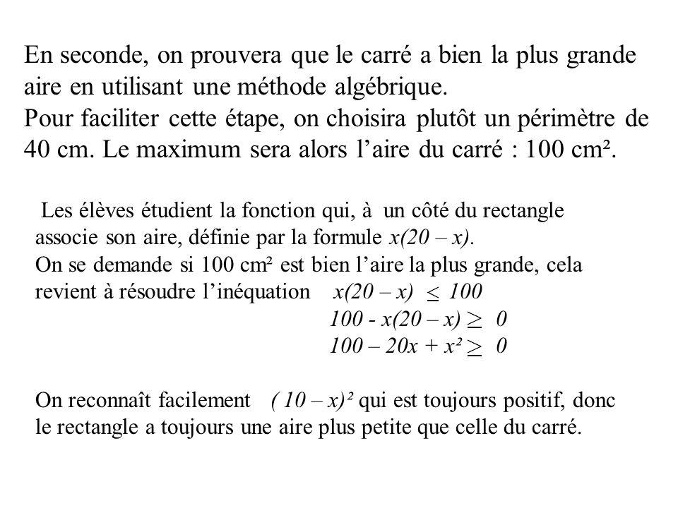 En seconde, on prouvera que le carré a bien la plus grande aire en utilisant une méthode algébrique.