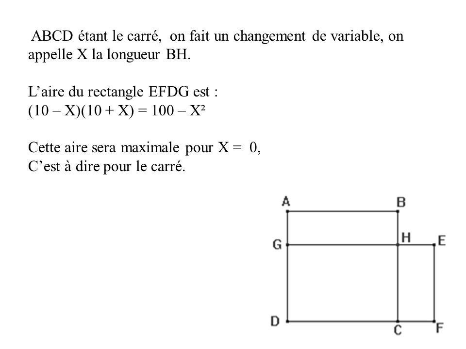ABCD étant le carré, on fait un changement de variable, on appelle X la longueur BH.