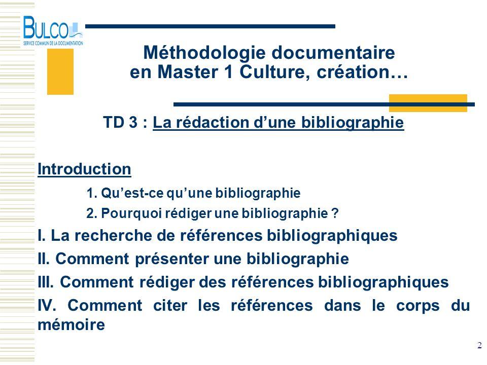 Méthodologie documentaire en Master 1 Culture, création…