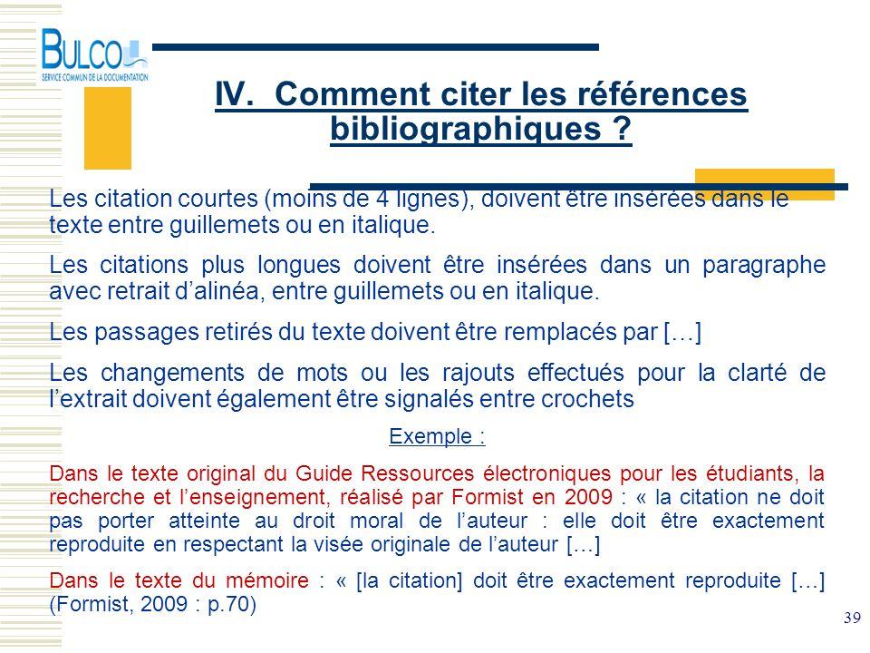 IV. Comment citer les références bibliographiques