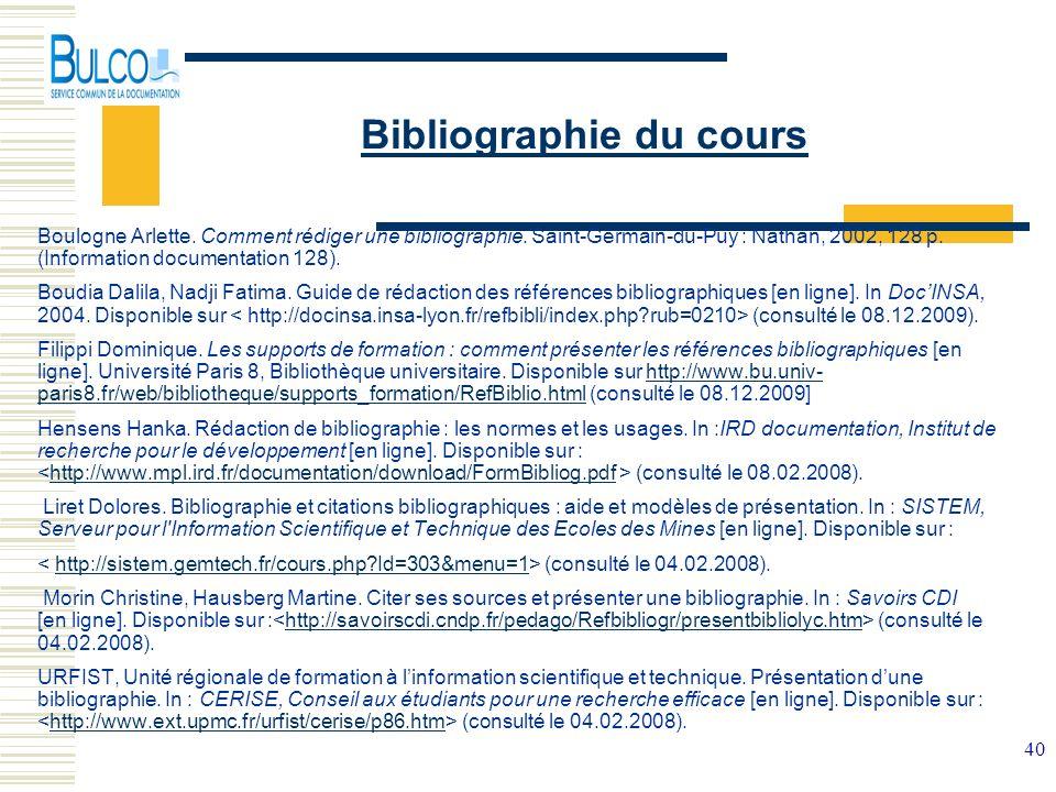 Bibliographie du cours