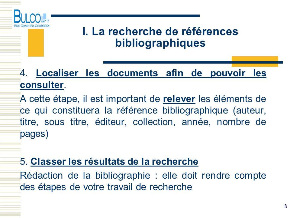 I. La recherche de références bibliographiques