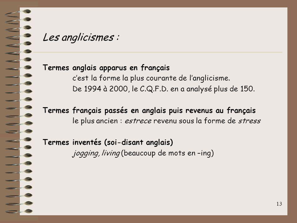 Les anglicismes : Termes anglais apparus en français